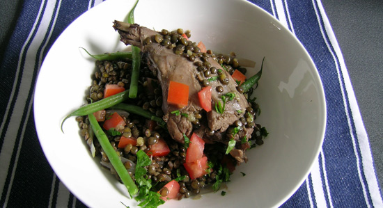 Bradley Smoked Rabbit Leg with Warm Lentil Salad