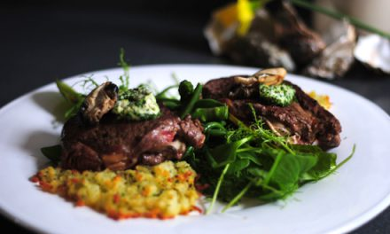 Smoked Oyster Carpet Bagger Steak with Rosti & Gremolata Butter