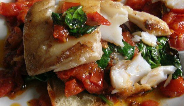 Cold Smoked Pollack, Tomato & Spinach Bruschetta